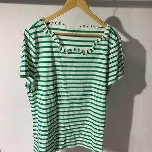 Talbots green white stripe jersey tee shirt